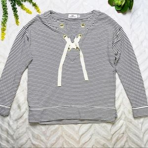 Vineyard Vines Bateau Neck Lace-Up Pullover XS
